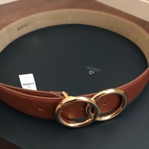 Express brown leather belt double o-ring